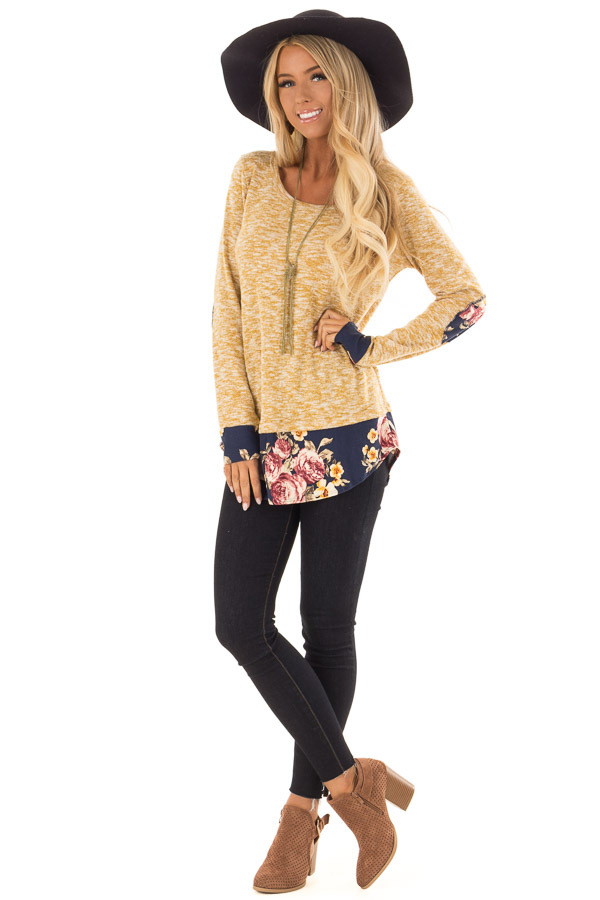 Mustard Two Tone Top with Floral Contrast and Elbow Patches front full body