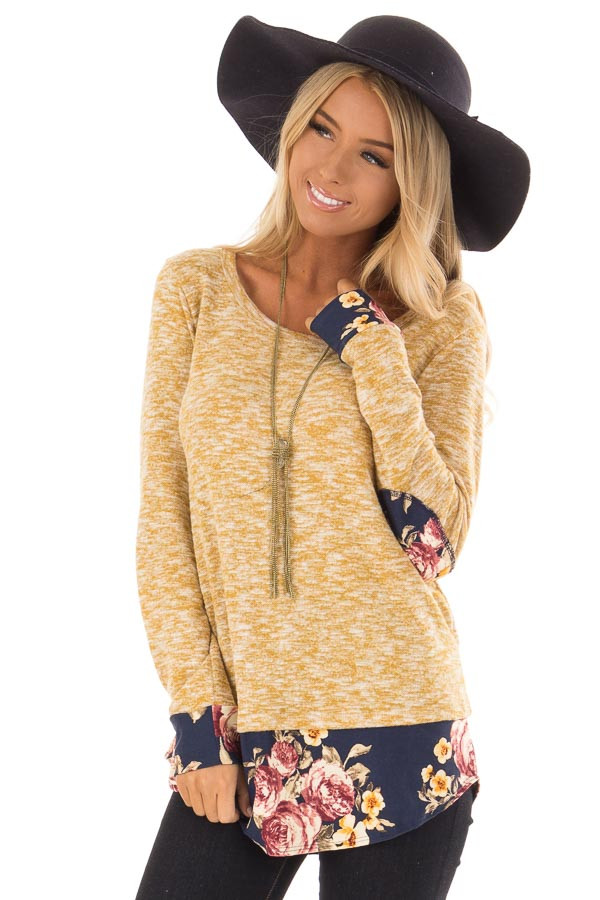 Mustard Two Tone Top with Floral Contrast and Elbow Patches front close up