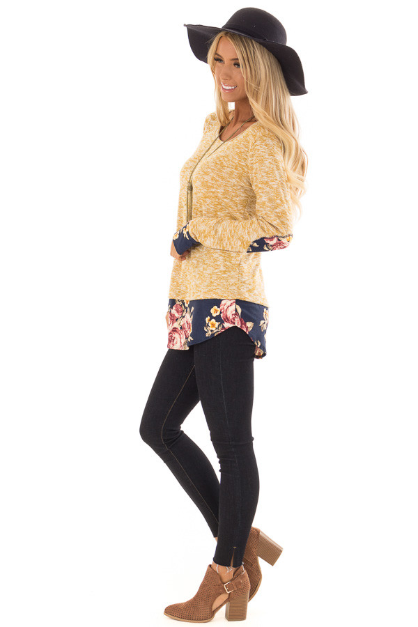 Mustard Two Tone Top with Floral Contrast and Elbow Patches side full body