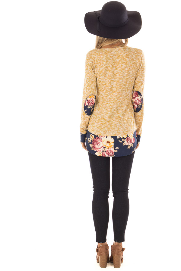 Mustard Two Tone Top with Floral Contrast and Elbow Patches back full body