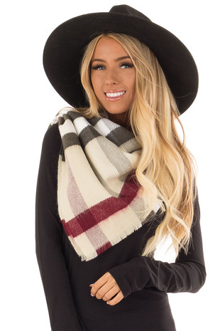 Ivory Plaid Oblong Scarf with Fringe Detail front close up