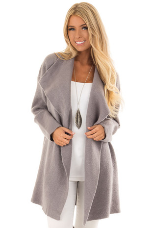 Heather Grey Long Draped Thick Knit Open Front Coat front close up