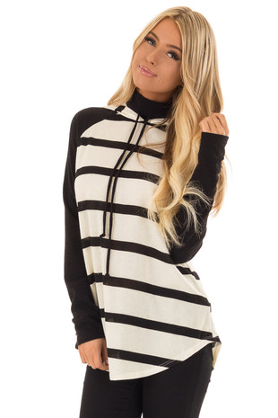 Ivory and Black Striped High Neck Hoodie with Black Contrast front close up