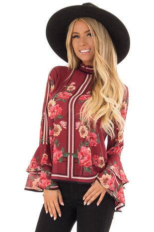 Crimson Floral Blouse with Layered Ruffle Sleeves front close up