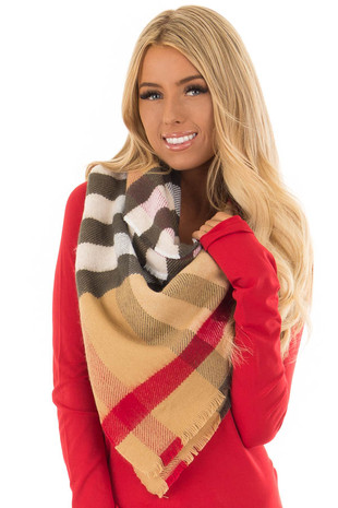 Beige Plaid Oblong Scarf with Fringe Detail front close up