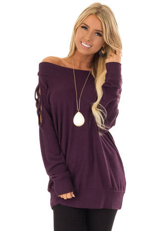 Eggplant Off the Shoulder Top with Criss Cross Sleeve Detail front close up