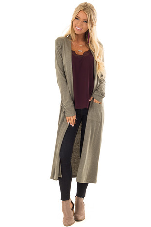 Olive Ribbed Knit Long Sleeve Cardigan with Pockets front close up