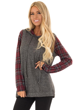 Charcoal and Burgundy Hoodie with Plaid Sleeve Contrast front close up