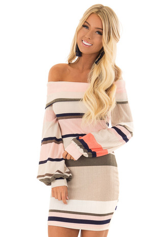 Multi Color Striped Off the Shoulder Bubble Sleeve Dress front close up