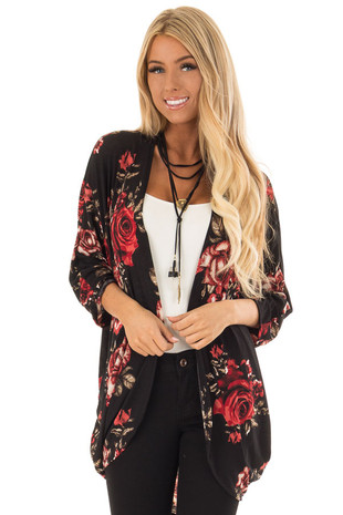 Black Floral Large Print Open Cardigan with Rounded Hemline front close up