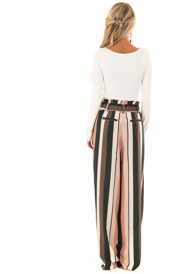 Dusty Pink and Cream Stripe Pants with Waist Tie back full body