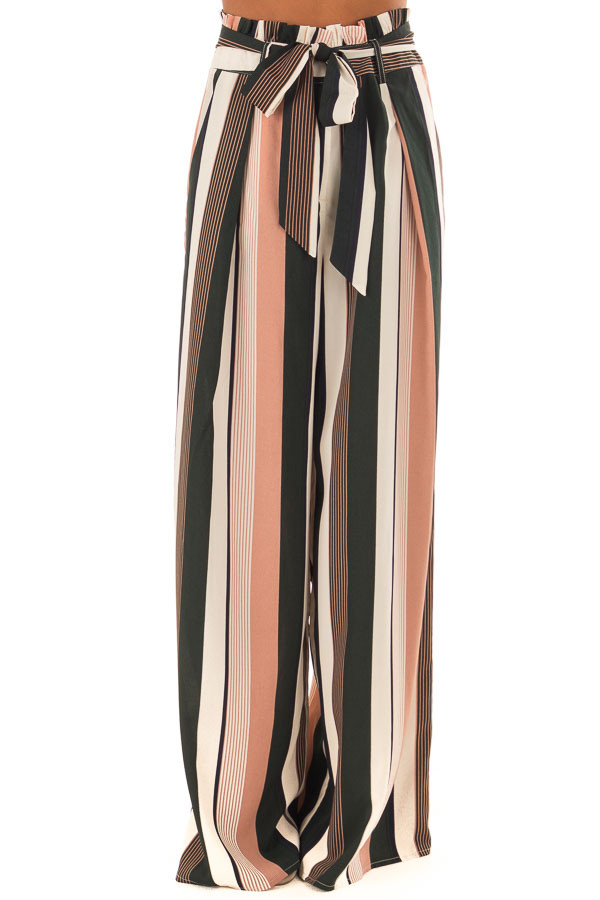 Dusty Pink and Cream Stripe Pants with Waist Tie front view