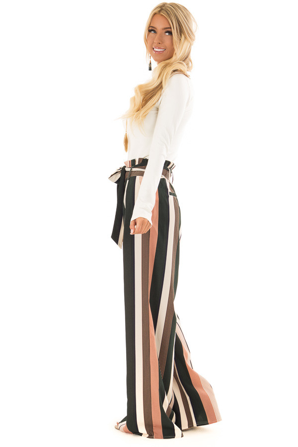 Dusty Pink and Cream Stripe Pants with Waist Tie side full body