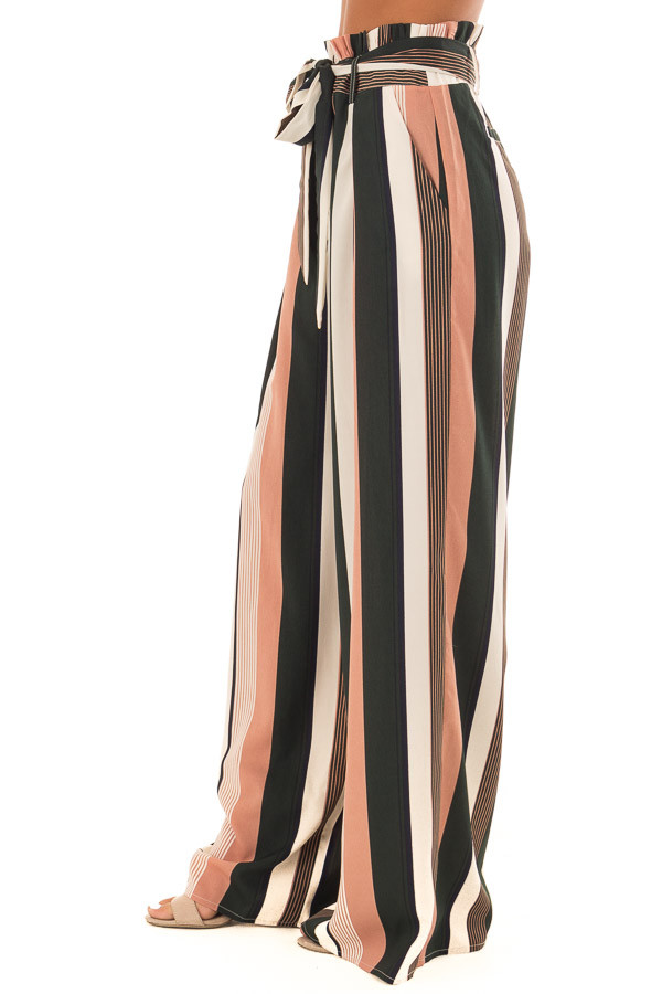 Dusty Pink and Cream Stripe Pants with Waist Tie side view