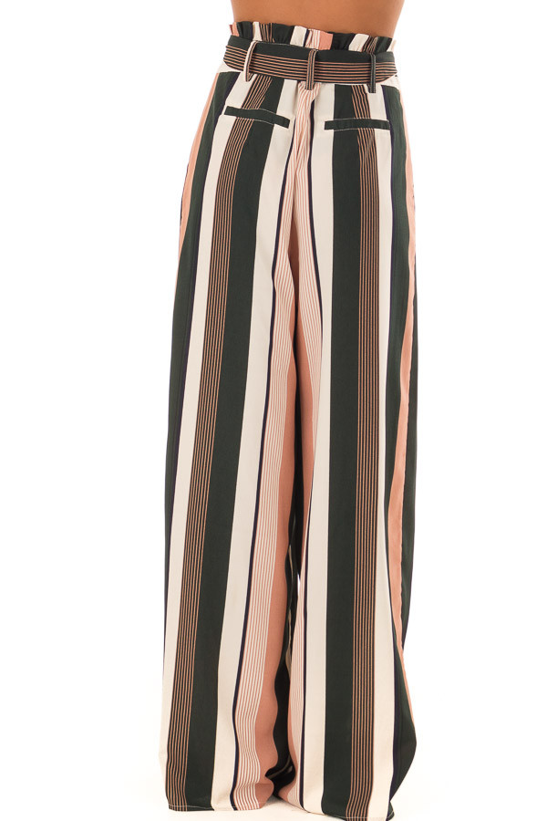 Dusty Pink and Cream Stripe Pants with Waist Tie back view