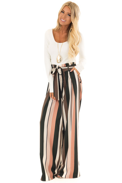 Dusty Pink and Cream Stripe Pants with Waist Tie front full body