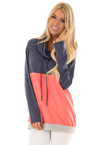 Navy and Coral Color Block Long Sleeve Hoodie front close up