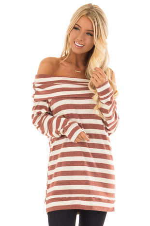 Brick and Cream Off the Shoulder Long Sleeve Tunic Top front close up
