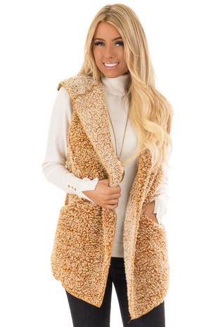 Mustard Two Tone Sherpa Vest with Hood and Pockets front close up