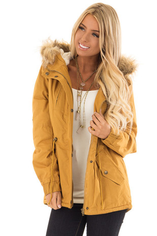 Mustard Zip Up Long Sleeve Coat with Faux Fur Lining front close up