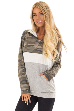 Camo Long Sleeve Color Block Hoodie with Kangaroo Pocket front close up