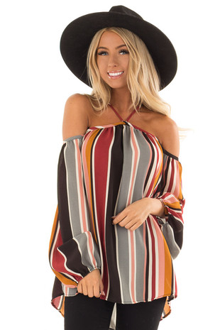 Multi Striped Long Sleeve Cold Shoulder Woven Top front close up