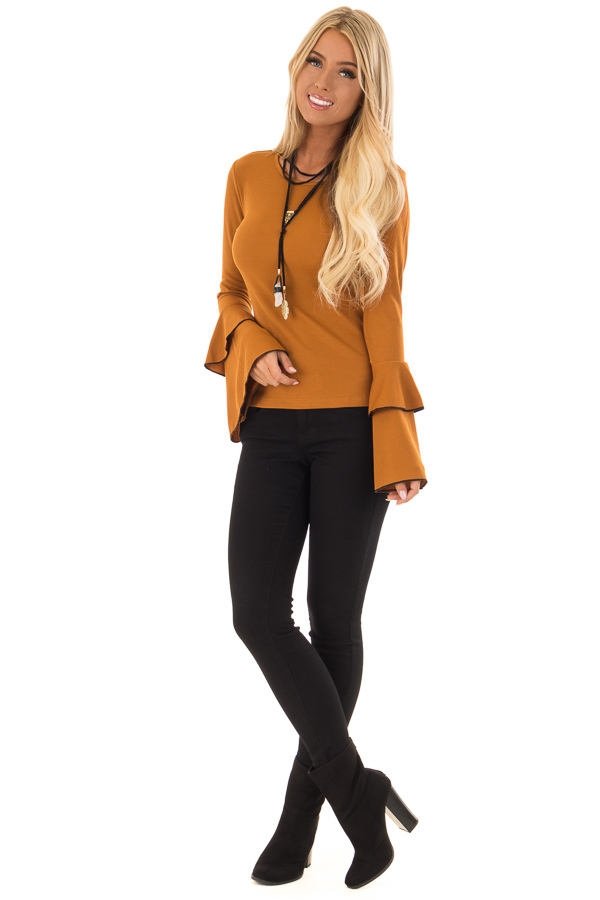 Ginger Ribbed Top with Tiered Bell Sleeves front full body