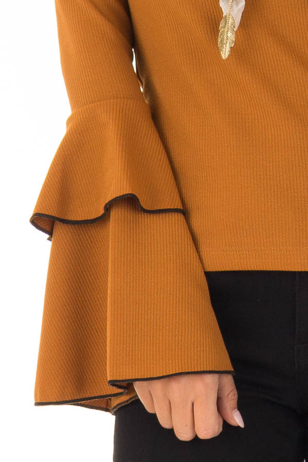 Ginger Ribbed Top with Tiered Bell Sleeves detail