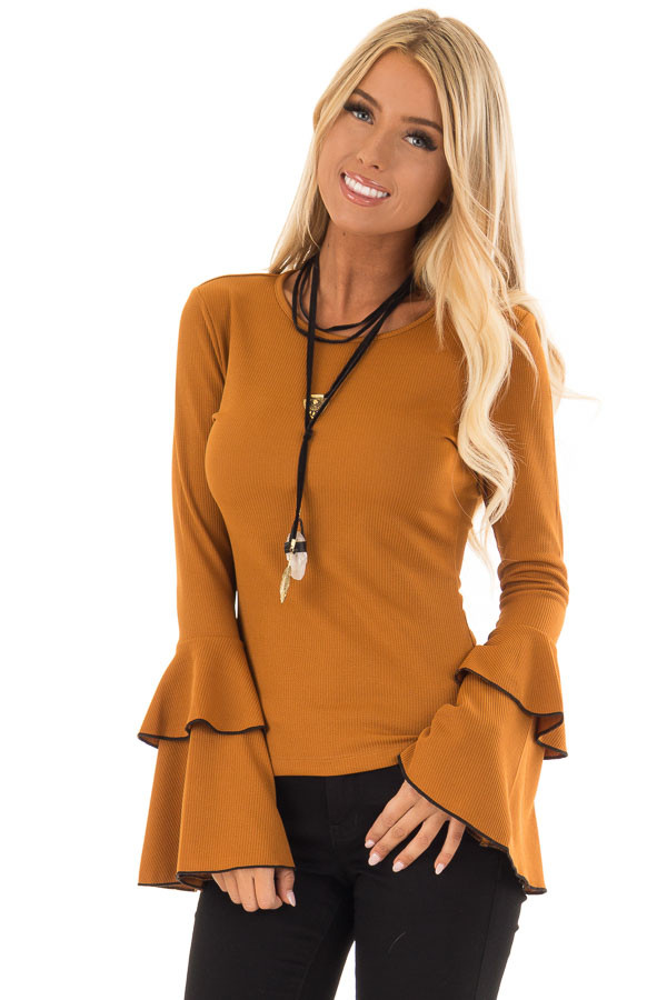 Ginger Ribbed Top with Tiered Bell Sleeves front close up