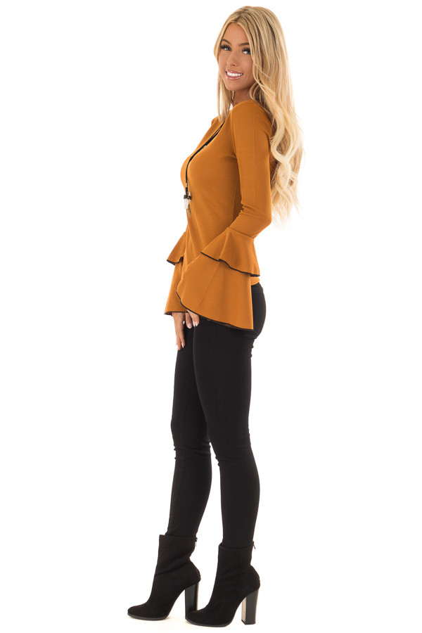 Ginger Ribbed Top with Tiered Bell Sleeves side full body