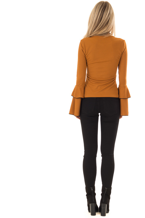 Ginger Ribbed Top with Tiered Bell Sleeves back full body