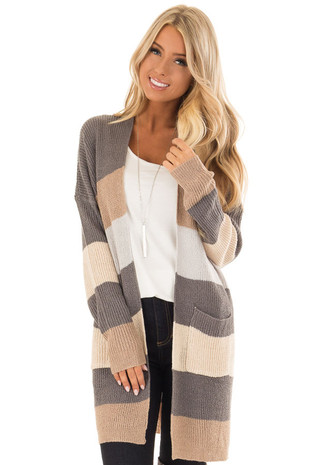 Taupe and Grey Color Block Open Front Cardigan with Pockets front close up