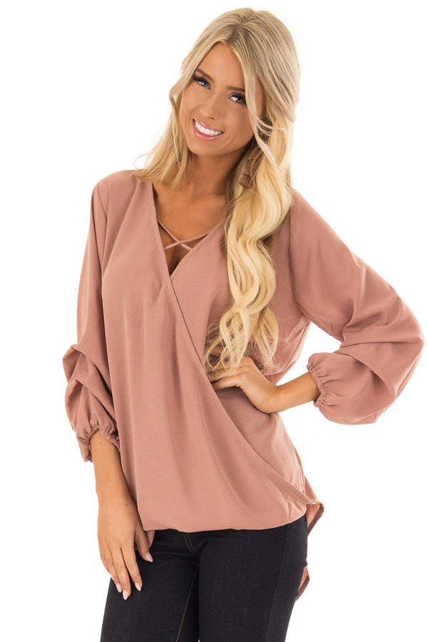 Dusty Mauve 3/4 Balloon Sleeve Surplice Top front close up