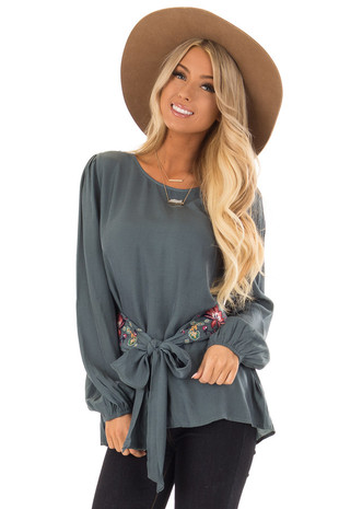 Teal Bishop Sleeve Blouse With Floral Embroidered Waist Tie front close up