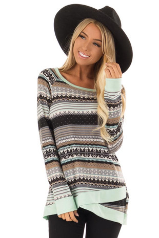 Mint and Heather Grey Striped Long Sleeve Aztec Sweater front close up