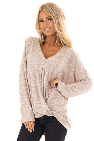 Blush Two Tone Sweater with Gathered Hem front close up