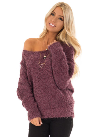 Plum Long Sleeve Fuzzy Knit Sweater front close up