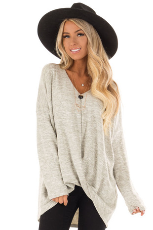 Heather Grey Sweater with Gathered Hem front close up