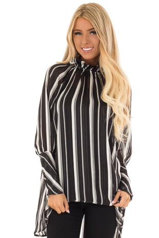 Obsidian and Cream Striped Sheer Sparkle Mock Neck Tunic front close up