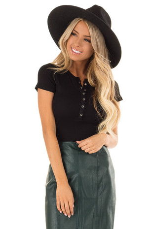 Black Short Sleeve Bodysuit with Snap Button Front front close up