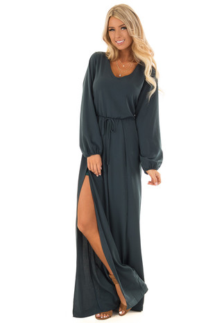 Hunter Green Long Sleeve Jumpsuit with Side Slits front full body