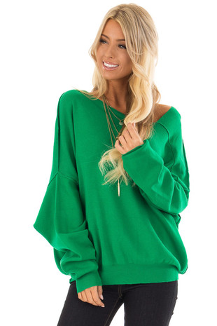 Kelly Green Asymmetrical Neckline Sweater front close up