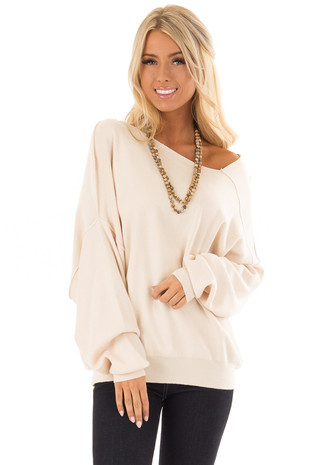 Oatmeal Asymmetrical Neckline Sweater front close up