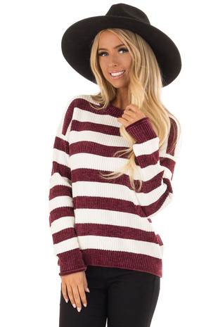 Wine and White Striped Long Sleeve Knit Sweater front close up