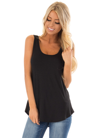 Black Loose Scoop Neck Rayon Tank Top front close up
