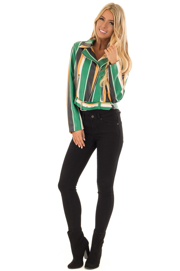 Kelly Green and Honey Striped Faux Leather Jacket front full body