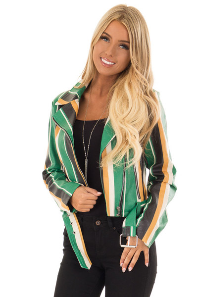 Kelly Green and Honey Striped Faux Leather Jacket front close up
