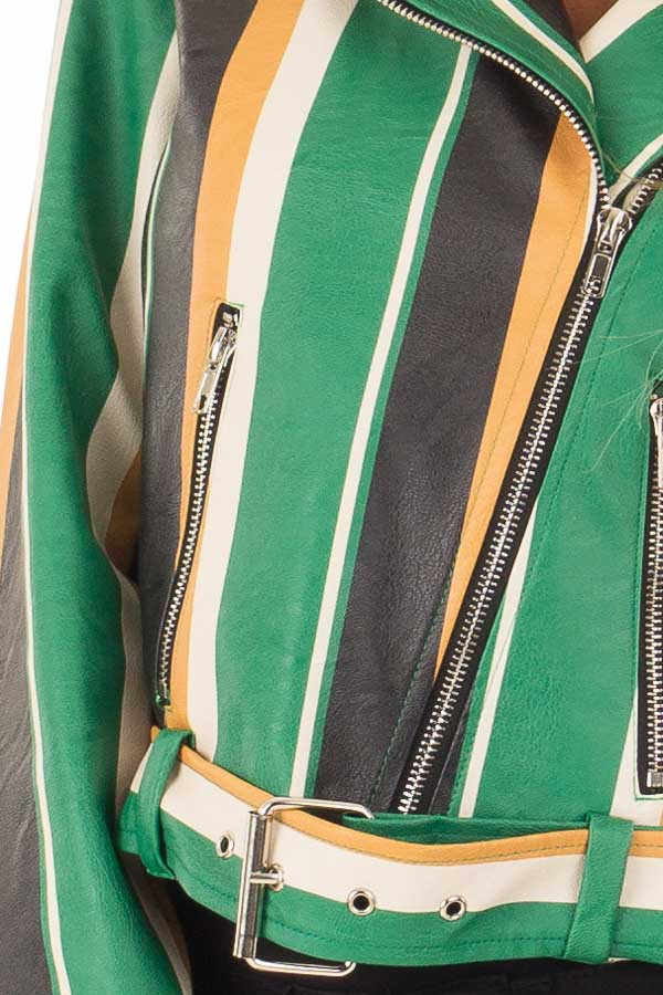 Kelly Green and Honey Striped Faux Leather Jacket detail