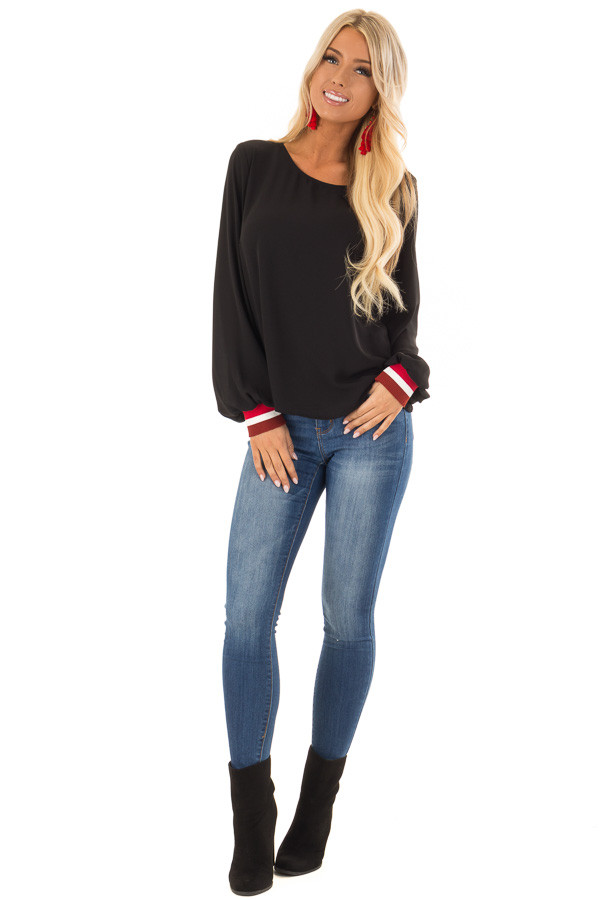 Black Tied Back Blouse with Crimson Elastic Cuffs front full body