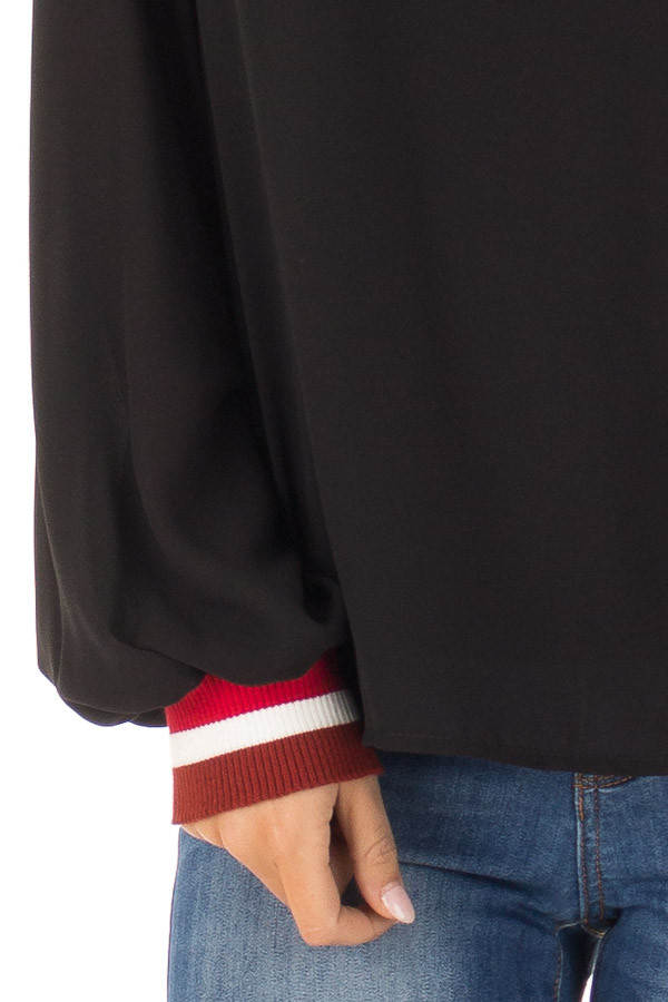 Black Tied Back Blouse with Crimson Elastic Cuffs detail